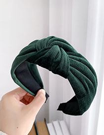 Fashion Dark Green Gold Velvet Knotted Hair Band