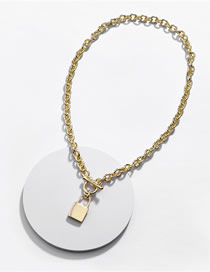 Fashion Gold Alloy Lock Open Chain Necklace