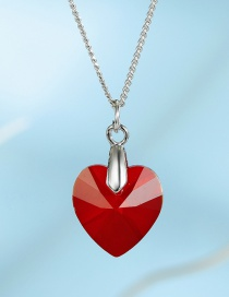 Fashion Red Love Crystal Alloy Necklace