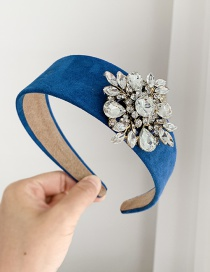 Fashion Royal Blue Fabric Alloy Diamond Flower Headband