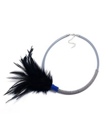 Fashion Gray Feather Plastic Acrylic Necklace