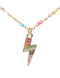 Fashion Color Drip Stainless Steel Lightning Necklace With Diamonds