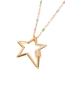 Fashion Golden Micro Set Zircon Pentagram Hollow Stainless Steel Necklace
