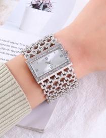 Fashion Silver Women's Quartz Watch With Diamonds