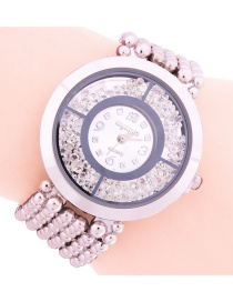 Fashion Silver Women's Watch With Quicksand Dial And Diamonds