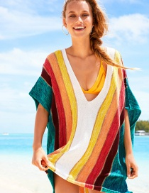 Fashion Rainbow Bar Rainbow Striped Knit V-neck Blouse