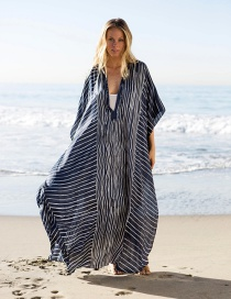 Fashion Striped Robe Chiffon Striped Sunscreen Maxi Dress
