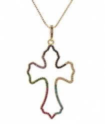 Fashion Golden Cubic Zirconia Cross Necklace