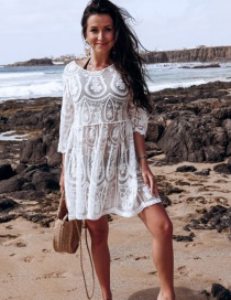 Fashion White Hollow Embroidered Lace Sun Coat