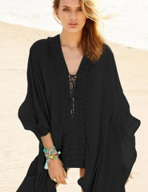 Fashion Black Cotton-lined Loose Sun-block Clothing