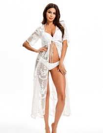 Fashion White Lace Mesh Eye Embroidered Cardigan Long Sunscreen