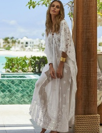 Fashion White Lace Positioning Flower Hollow Tie Tied Wide Band Sunscreen Dress