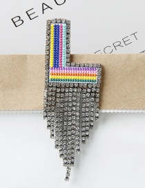 Fashion L Color Embroidered Brooch With Diamonds And Letters