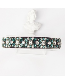 Fashion White + Green Copper Claw Studded Wide Flower Hoop With Diamonds