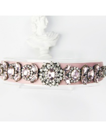 Fashion Pink Copper Claw Studded Wide Flower Hoop With Diamonds