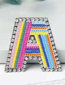 Fashion A Color Brooch With Embroidered Letters And Diamonds
