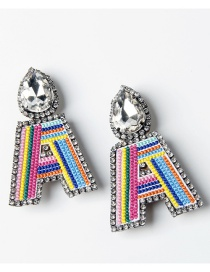 Fashion A Color Embroidered Drop Earrings With Diamonds And Letters