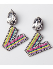 Fashion V Color Embroidered Drop Earrings With Diamonds And Letters
