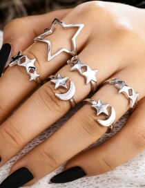 Fashion Silver Pentagram Moon Alloy Open Ring Set