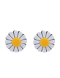 Fashion White Alloy Resin Flower Earrings