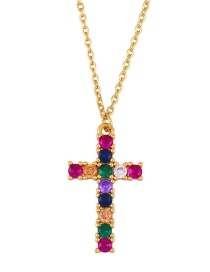 Fashion Cross Cross Inlaid Colored Zircon Alloy Necklace