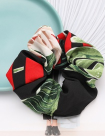 Fashion Green Flower And Grass Contrast Color Pattern Cloth Bowel Hair Rope