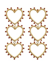 Fashion Red Gold-plated Love Cutout Earrings