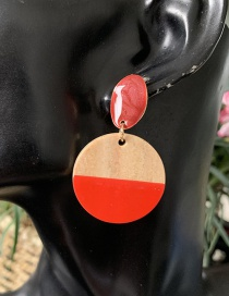 Fashion Red Geometric Wooden Drip Earrings