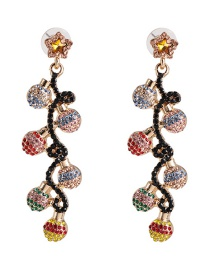 Fashion Color Pendant Alloy Stud Earrings With Rhinestones