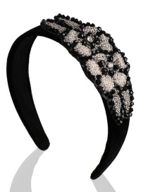 Fashion Black And White Flower-set Rhinestone Gold Velvet Wide Hoop