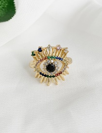 Fashion Golden Cubic Zirconia Eye Ring