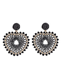 Fashion Silver Alloy Bead Love Gold Wire Braided Stud Earrings