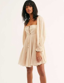 Fashion Creamy-white Fungus Frill Chest Lace Up Dress