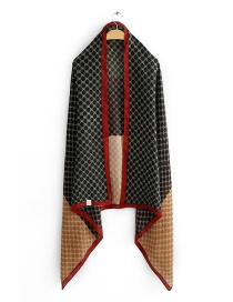 Fashion Red Stitched Contrast Geometric Border Scarf