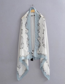 Fashion Light Blue Contrast Border Pattern Printed Silk Scarf