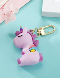 Fashion Purple Unicorn Resin Keychain Pendant