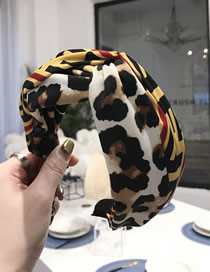 Fashion Yellow Leopard Print Hook Cross Knotted Wide Edge Hoop