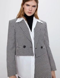 Fashion Black And White Houndstooth Double-breasted Short Suit