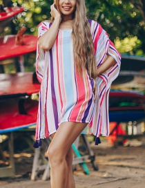 Fashion Color Color Stripe Chiffon Four Corners Hanging Shirt Swimwear