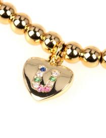 Fashion Golden U Micro Beaded Diamond Love Heart Copper Bead Bracelet