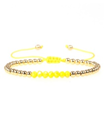 Fashion Yellow Crystal Brass Plated Gold Bead Adjustable Woven Bracelet