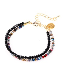 Fashion Color Faceted Crystal Bead Mixed Color Double Adjustable Bracelet Set