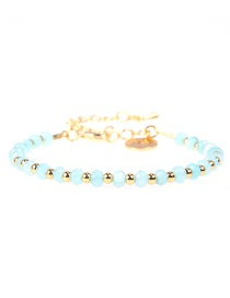 Fashion Light Blue Faceted Natural Stone Mixed Color Beaded Copper Plated Real Gold Bracelet