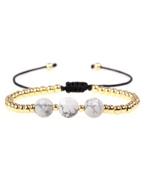 Fashion White Turquoise Faceted Natural Stone Braided Copper Plated Gold Color Bracelet