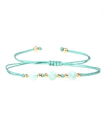 Fashion Light Green Faceted Natural Stone Gold Bead Woven Bracelet