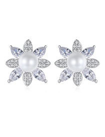 Fashion Platinum Silver-plated Brass Flower Earrings With Diamonds