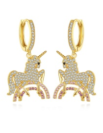 Fashion 18k Gold Unicorn Earrings With Electroplated Copper And Zircon