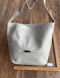 Fashion Light Grey Pu Bucket Bag Shoulder Bag