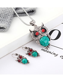 Fashion Blue Owl Diamond Earrings Necklace Set