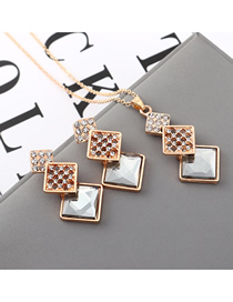 Fashion Gray Geometric Square Diamond Earrings Necklace Set